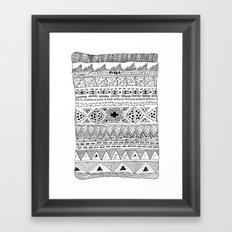 Pizza Pattern (black) Framed Art Print