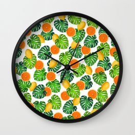 Oranges Lemons Monstera White Wall Clock
