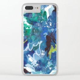 Blue Abstract Mixed-Media: Water Clear iPhone Case