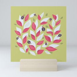 Pretty Plant With White Pink Leaves And Ladybugs Mini Art Print