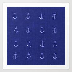 Anchors Away - Blue Art Print