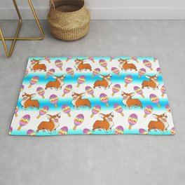 Cute happy playful funny puppy corgi dogs, sweet adorable yummy colorful Kawaii rainbow ice cream popsicles cartoon summer bright striped colorful white blue design. Rug