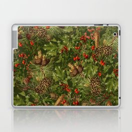 Traditional Holly Christmas Pattern Laptop & iPad Skin
