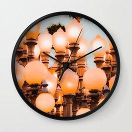 Urban Light LACMA Los Angeles California USA with blue sky Wall Clock