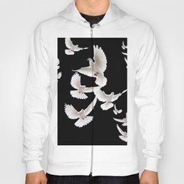 WHITE PEACE DOVES ON BLACK COLOR DESIGN ART Hoody