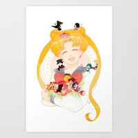 sailor moon Art Prints featuring Sailor Moon by cezra