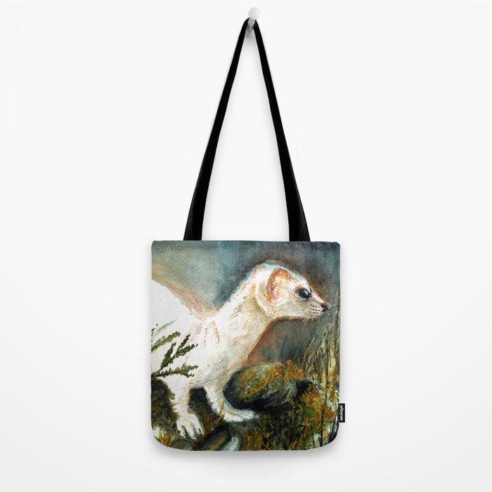 Winter stoat watercolor Tote Bag