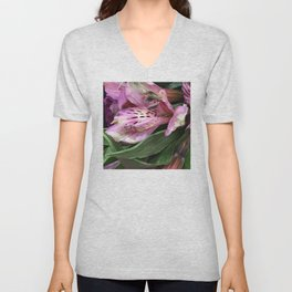 Lilac Pink Orchids and Leaves At Day's End Unisex V-Neck