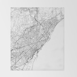 Barcelona White Map Throw Blanket