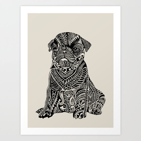 Polynesian Baby Pug Art Print by Huebucket | Society6