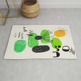 Mid Century Modern Abstract Vintage Colorful Shapes Patterns Lime Green Yellow Pebbles Rug