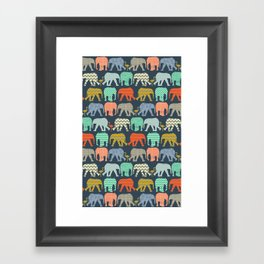 baby elephants and flamingos sienna Framed Art Print