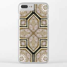 Victorian Art Deco Medieval Pattern gray SB18 Clear iPhone Case