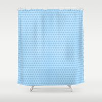 scandinavian Shower Curtains featuring Scandinavian blue by There is no spoon