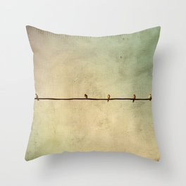 Sparrows on Wire Throw Pillow