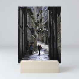 Pilgrim in Santiago de Compostela; after the walk Mini Art Print