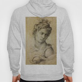 "Michelangelo Buonarroti ""Female Figure Seen in Bust-Length From the Front (Cleopatra with snake)"" Hoody"