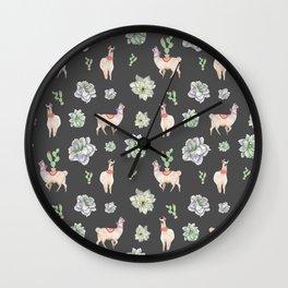Cute Llamas & Amaryllis Floral Pattern Wall Clock