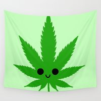 weed Wall Tapestries featuring kawaii weed by kidkb09