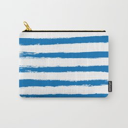 Nautical Blue STRIPES Handpainted Brushstrokes Carry-All Pouch