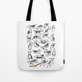 The Many Faces of Jetpack the Dog Tote Bag