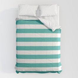 Narrow Horizontal Stripes - White and Verdigris Comforters