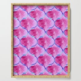 Watercolor Moroccan Quatrefoils in Magenta Pink and Blue Serving Tray
