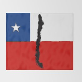 Chilean Flag with Map of Chile Throw Blanket