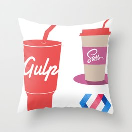 gulp polymer sass stickers all in 1 programming stickers web developer Throw Pillow