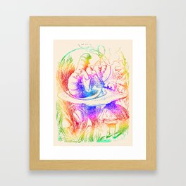 Psychedelic Alice in Wonderland Smoking Caterpillar Framed Art Print