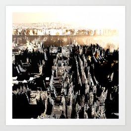 Prague in Gold Overflight no. 1 Art Print