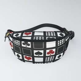 Casino, playing cards, suits of hearts, crosses, clubs Fanny Pack