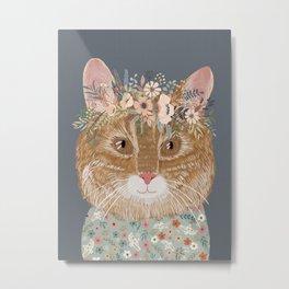 Red hair cat with flower crown Metal Print