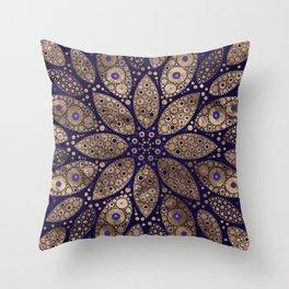 Flower Mandala - Dot Art - Purple and Gold Throw Pillow