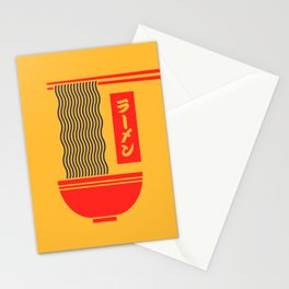 Ramen Japanese Food Noodle Bowl Chopsticks - Yellow Stationery Cards