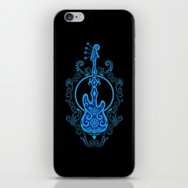 Intricate Blue and Black Bass Guitar Design iPhone Skin