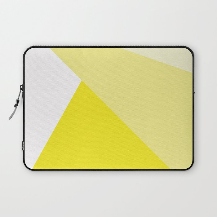 Simple Geometric Triangle Pattern - White on Yellow - Mix & Match with Simplicity of life Laptop Sleeve