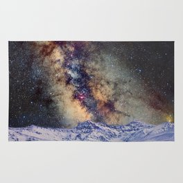 The star Antares, Scorpius and Sagitariuss over the hight mountains. The milky way. Rug