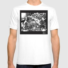 Burning Monk Mens Fitted Tee SMALL White