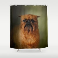 brussels Shower Curtains featuring The Brussels Griffon by Jai Johnson