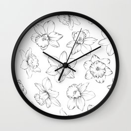 Seamless pattern with flowers narcissus. Wall Clock