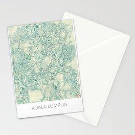 Kuala Lumpur Map Blue Vintage Stationery Cards