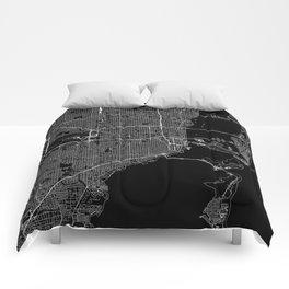 Miami Black Map Comforters