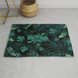 Tropical Jungle Night Leaves Pattern #1 (2020 Edition) #tropical #decor #art #society6 Rug