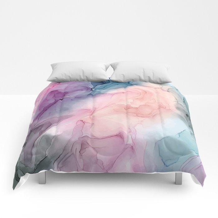 Dark and Pastel Ethereal- Original Fluid Art Painting Comforters