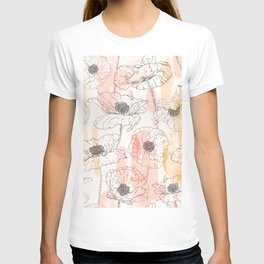 Watercolor Poppies Seamless Print T-shirt