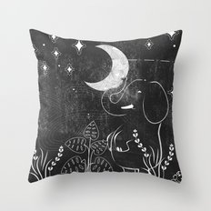 Elephant and Moon Throw Pillow