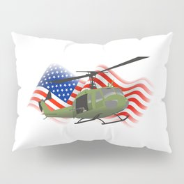 UH-1 Huey Helicopter with American Flag Pillow Sham