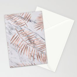 Rose gold palm fronds on marble Stationery Cards