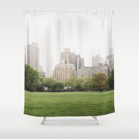 central park Shower Curtains featuring CENTRAL PARK by alexandragibbs